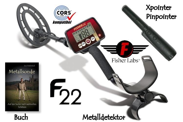 Fisher F22 Premiumpaket (Metalldetektor & Deteknix Xpointer & Schatzsucherhandbuch)