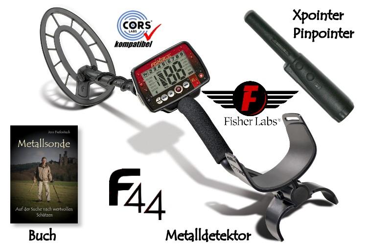 Fisher F44 Premiumpaket (Metalldetektor & Deteknix Xpointer & Schatzsucherhandbuch)