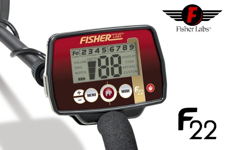 Metalldetektor Fisher F22 & CORS Strike Hochleistungsspule (Tiefenortungspaket)